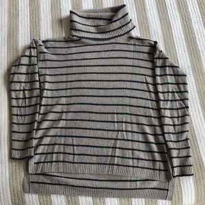 Striped Turtleneck Lightweight Sweater